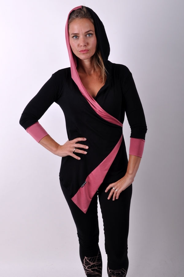 AsymetriX hoody top black/dark powder pink