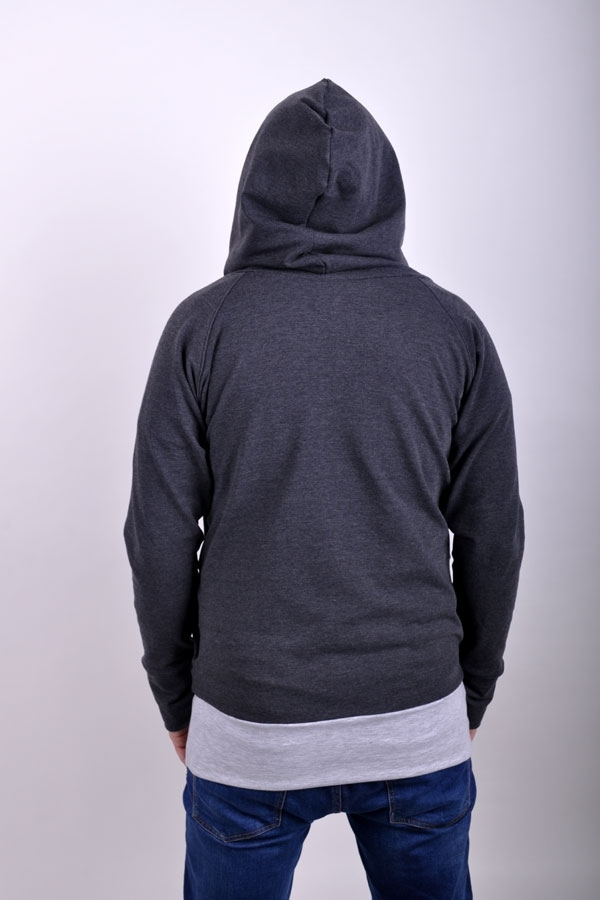 Basic hoodiX man dark/light grey melange