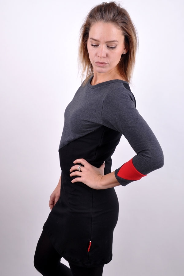 CuffiX dress red/grey/black