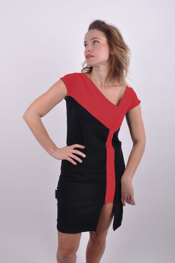 Cube slitiX dress black/red