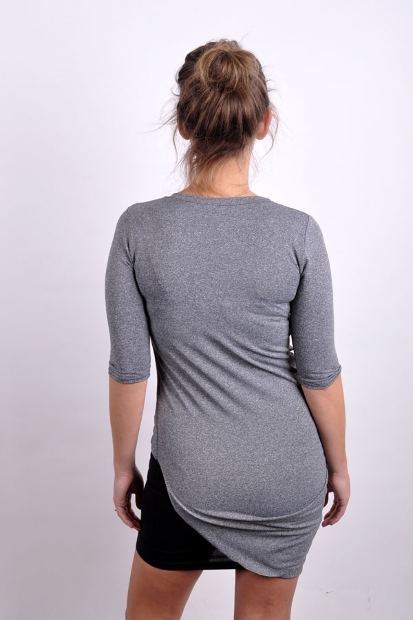 Folded top grey melange