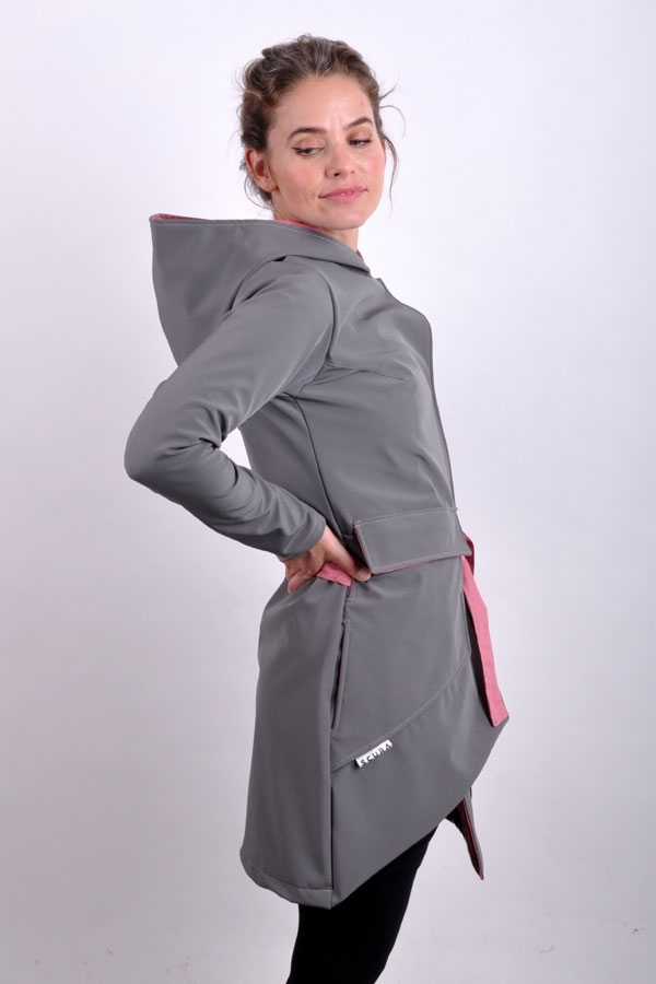 PocketiX coat softshell grey/powder LIMITED